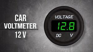 Green Led Digital Display Round Voltmeter For Boats Cars