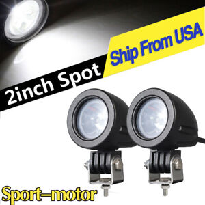 Off Road Led Pods Lights 2inch 10w Spot Round Backup Lamp For Motorcycle 4wd Atv