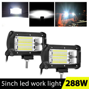 2x 5 Inch 288w Led Work Light Bar Flood Pods Driving Offroad Tractor 4wd Atv 12v