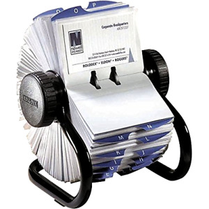 Rotary Business Card File With Durable Transparent Sleeves Holds Up To 400 Cards