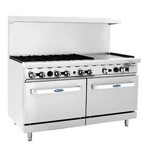 Atosa Usa Ato 6b24g 60 inch Six Burner 24 inch Griddle Natural Gas Range