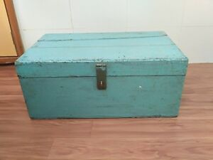 Vintage Old Wooden Hand Carved Brass Fitted Indian Merchant Money Box Chest