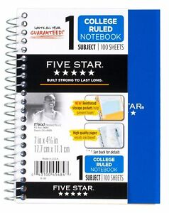12 Pack Of Mead Five Star Personal Spiral Notebook 7 X 4 3 8 100 Sheets