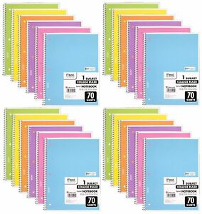 Mead Spiral Notebook College Ruled 1 Subject Assorted Colors 24 Pack