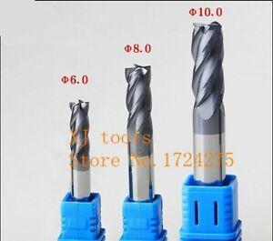 3pcs Of 6 8 10mm Four Flutes Micro Solid Carbide Face End Mill Cnc Milling Bits