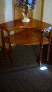 Antique Accent Table End Side Mahogany Corner Table Has Double Shelf
