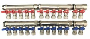 3 4 12 loops Ball Valve Brass Pex Manifold For 1 2 Pex