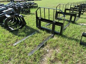 Skid Steer Tractor Heavy Duty 48 Forks And Frame Quick Connect Attachment