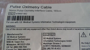 Pulse Ox Nonin Oximetry Interface Cable 183 Cm 418497 002 New Ge Medical Systems