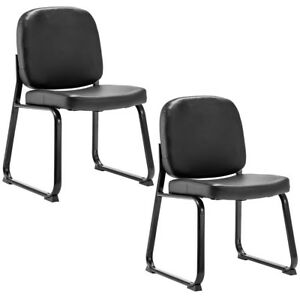 Set Of 2 Pu Conference Chair Reception Office Guest Lecture Exam Armless Chair