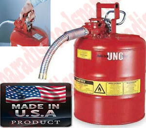 Flammable Liquid Gas Safe Tank Can Dispenser Self closing Lid Safety Spout Can