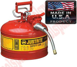 2 5 Gal Auto Mechanic Shop Gas Safety Can Oil Storage Tank Stainless Steel