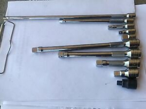 Snap On Tools Lot 10 Pcs Extension And Two Adapters Fxk Tmxk Gfat1e Ta3