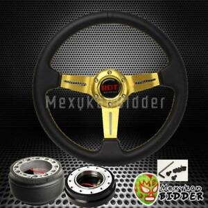 Gold Deep Dish Steering Wheel Black Quick Release For Acura Integra 1994 2001