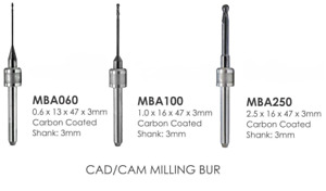 Diamond Coated Burs Amann Girrbach Cad Cam Milling Burs 2 50mm 1 00mm Or 0 60 Mm