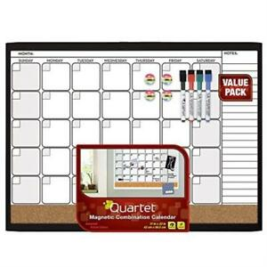 Quartet Dry Erase Cork Calendar Board Combo Value Pack Magnetic Black Frame 442