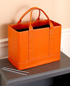 Orange Chic File Organizer Tote Portable Document Folder Carrier Faux Leather