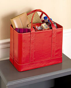 Red Chic File Organizer Tote Portable Document Folder Carrier Faux Leather
