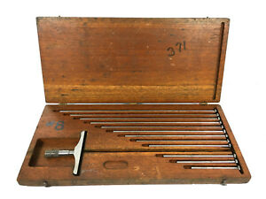 Vintage Brown And Sharpe Depth Gauge Micrometer No 607 W 12 Rods