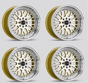Drag Wheels Dr 58 16x8 25 4x100 4x114 25 Low Offset Gold Jdm Step Lip Rims