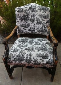 Vintage Toile De Jouy Armchair Chair Black White Distressed Paint Upholstered