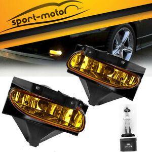 For 1999 2004 Ford Mustang Amber Yellow Lens Fog Lights Front Bumper Lamps Pair