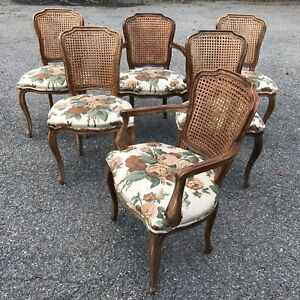 Set Of 6 Italian French Louis Xv Double Cane Back Dining Chairs