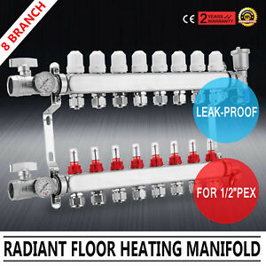 8 branch Radiant Floor Heating W adapters Manifold Set Pex Radiant Promotion