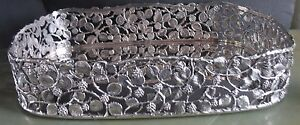 Italian 800 Silver Reticulated Blackberries Vines Gallery Tray By Armando Poggi