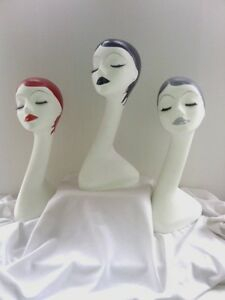 Set Of 3 Hand Painted White Long Neck Styrofoam Mannequin Head Display 19 Inche