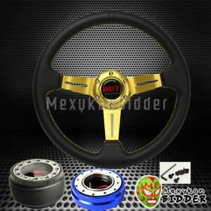 Gold Deep Dish Steering Wheel Blue Quick Release For Acura Integra 1986 1989
