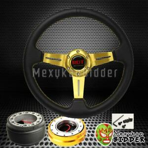 Gold Deep Dish Steering Wheel Quick Release Hub Kit For Acura Integra 1986 1989