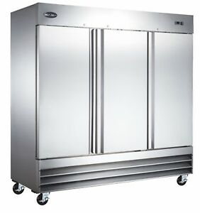 Saba Commercial Refrigerator Beverage Cooler 3 Stainless Steel Doors