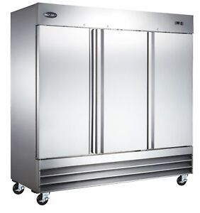 Saba Commercial Upright Freezer Stainless Steel Freezer Storage 3 Solid Doors