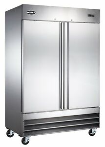Saba Commercial Upright Freezer Stainless Steel Freezer Storage 2 Solid Doors
