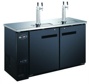 Saba 60 Black Commercial Beer Cooler Beer Tap Kegerator 2 Doors 24 Depth