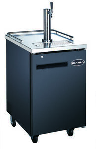 Saba 23 Black Commercial Beer Cooler Beer Tap Kegerator 1 Door 30 Depth