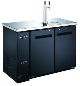 Saba 48 Black Commercial Beer Cooler Beer Tap Kegerator 2 Doors 24 Depth