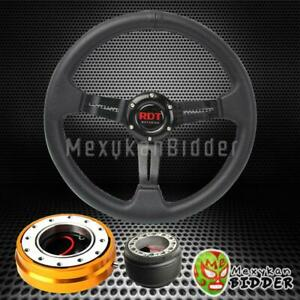 Black Deep Dish Steering Wheel Gold Quick Release For Acura Integra 1990 1993