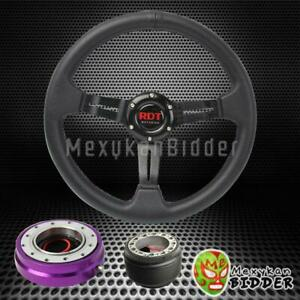 Black Deep Dish Steering Wheel Purple Quick Release For Acura Integra 90 93