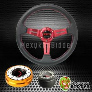 Red Deep Dish Steering Wheel Gold Quick Release For Honda Civic 2006 2014