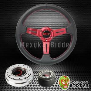 Red 330mm Steering Wheel Silver Quick Release For Mitsubishi Eclipse 89 05