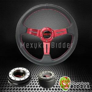 Red Deep Dish Steering Wheel Black Quick Release For Acura Integra 1994 2001