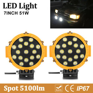 2x Off road Round Led Work Lights 7inch 51w Boat Atv Suv 4x4 Truck Driving Pods