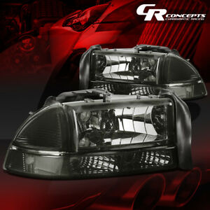4pcs Of Smoked Headlight clear Bumper Lamps Lh rh For 97 04 Dodge Dakota durango