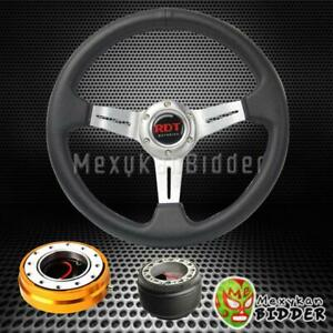 Silver Deep Dish Steering Wheel Gold Quick Release For Acura Integra 1990 1993