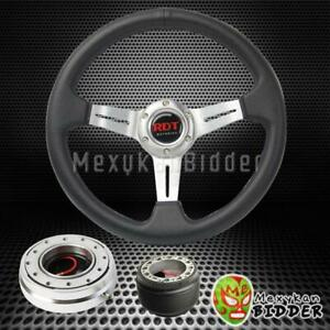 Silver 2 5 Deep Dish Steering Wheel Quick Release For Acura Integra 1994 2001