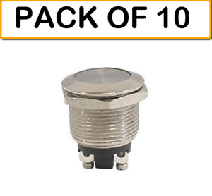 10 pack Velleman R1400a Push Button Switch Metal Round 48v 2a Off Mom on Sp