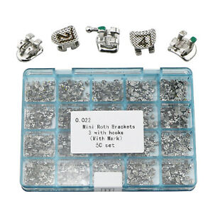 Dental Orthodontic Metal Brackets Mini Roth 022 Slot 3 Hooks Laser Mark 5