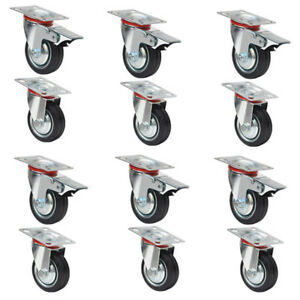 12pcs Swivel Caster Wheels 3 Rubber Base With Top Plate Bearing Heavy Duty